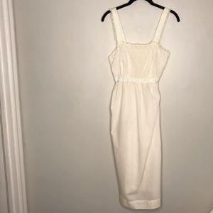Vintage White Lace Blue Satin Nightgown Eyelet Sm